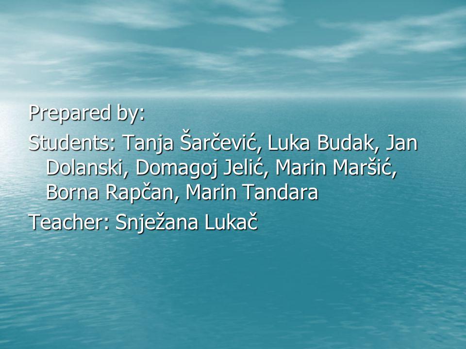 Prepared by: Students: Tanja Šarčević, Luka Budak, Jan Dolanski, Domagoj Jelić, Marin Maršić, Borna Rapčan, Marin Tandara Teacher: Snježana Lukač