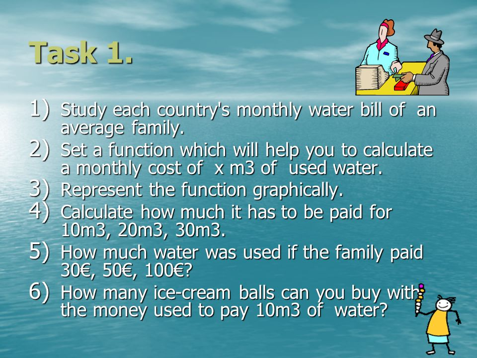 Task 1. 1) Study each country s monthly water bill of an average family.