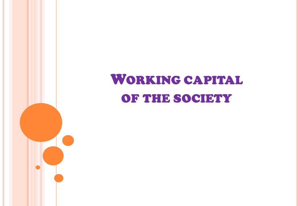 W ORKING CAPITAL OF THE SOCIETY