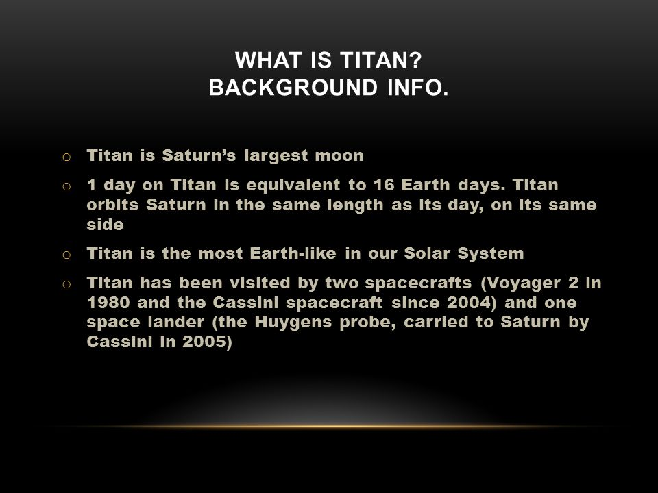 WHAT IS TITAN. BACKGROUND INFO.