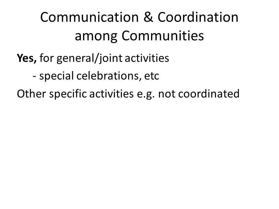 Communication & Coordination among Communities Yes, for general/joint activities - special celebrations, etc Other specific activities e.g.