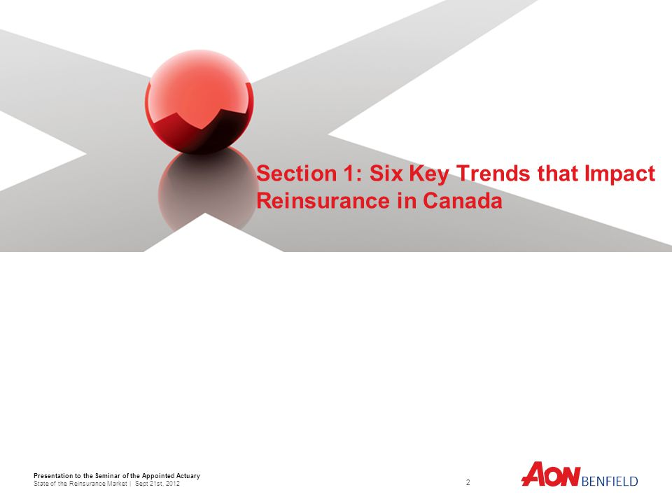 Presentation to the Seminar of the Appointed Actuary State of the Reinsurance Market | Sept 21st, Section 1: Six Key Trends that Impact Reinsurance in Canada