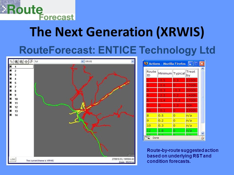 The Next Generation (XRWIS) RouteForecast: ENTICE Technology Ltd Route-by-route suggested action based on underlying RST and condition forecasts.