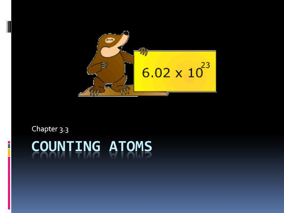 Relating Mass to Numbers of Atoms The MOLE SI base unit for amount of a substance Abbreviated as mol Defined as : amount of substance that contains as many particles as there are atoms in exactly 12 g of carbon – 12 Counting unit just like a dozen We dont order 12 or 24 eggs, we order 1 or 2 dozen In same way, a chemist may want 1 mol of carbon or 2 mol of iron.