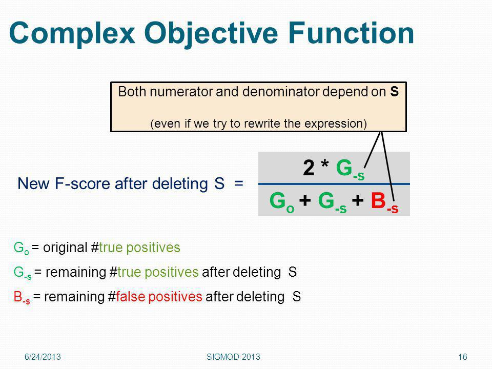 6/24/2013SIGMOD Complex Objective Function 2 * G -s G o + G -s + B -s New F-score after deleting S = G o = original #true positives G -s = remaining #true positives after deleting S B -s = remaining #false positives after deleting S Both numerator and denominator depend on S (even if we try to rewrite the expression)