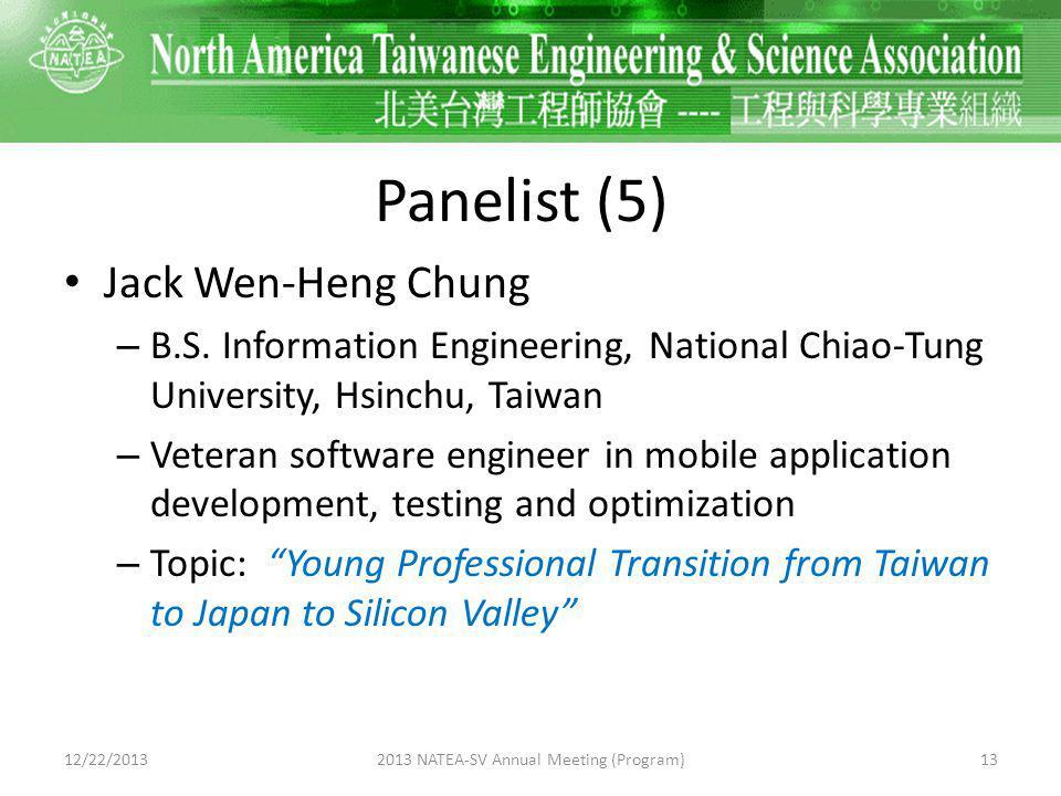Panelist (5) Jack Wen-Heng Chung – B.S.