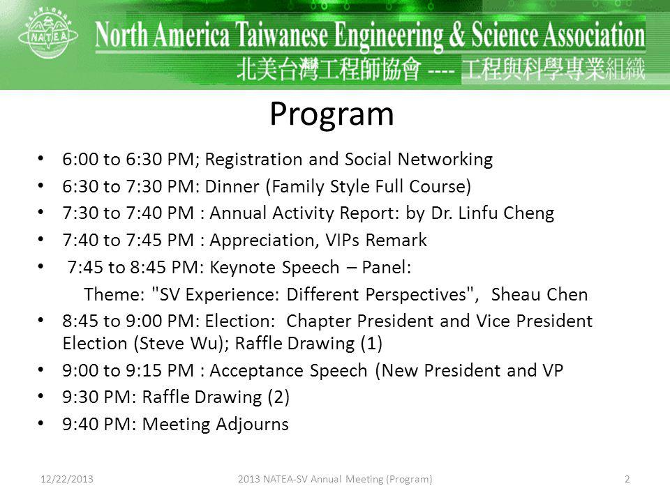 6:00 to 6:30 PM Registration 12/22/201332013 NATEA-SV Annual Meeting (Program)
