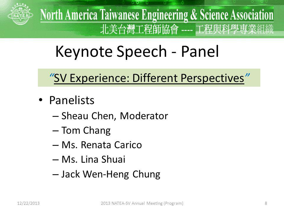 Panelist (1) Sheau Chen – Moderator – Topic: Business Model across US and Asia Pacific 12/22/201392013 NATEA-SV Annual Meeting (Program)