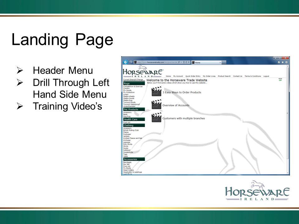 Landing Page Header Menu Drill Through Left Hand Side Menu Training Videos