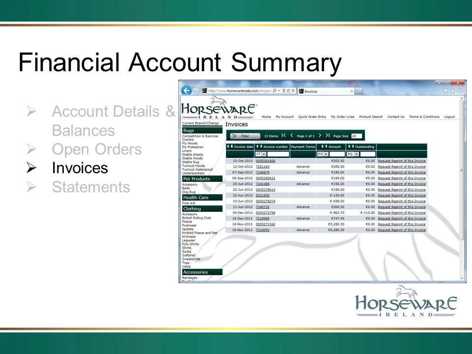 Financial Account Summary Account Details & Balances Open Orders Invoices Statements