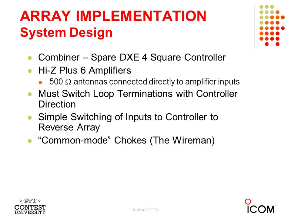ARRAY IMPLEMENTATION System Design Combiner – Spare DXE 4 Square Controller Hi-Z Plus 6 Amplifiers 500 antennas connected directly to amplifier inputs