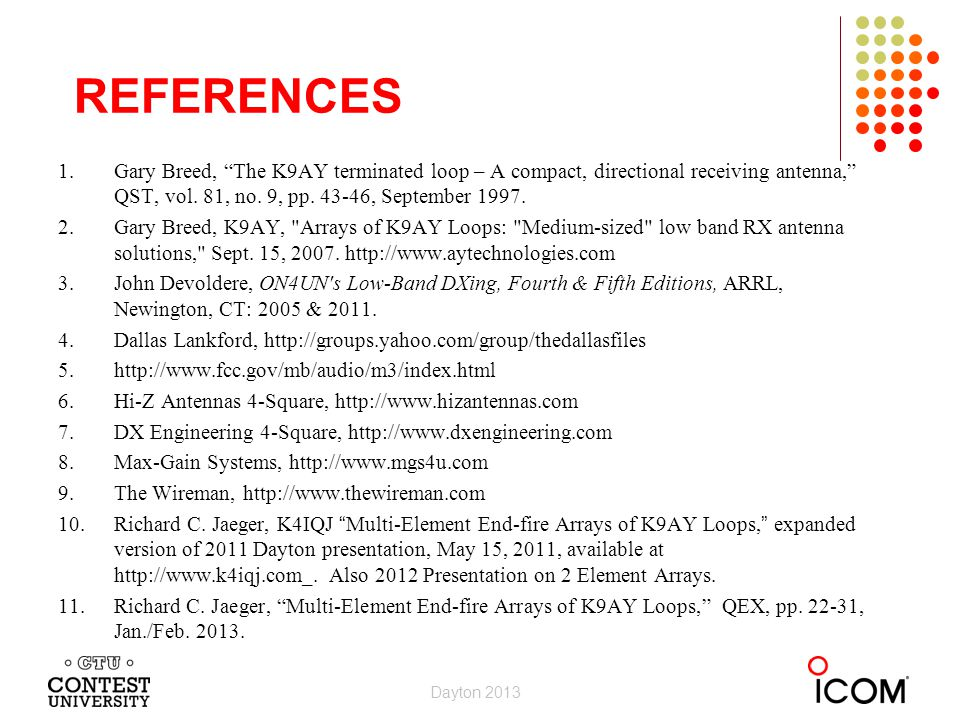 REFERENCES 1.Gary Breed, The K9AY terminated loop – A compact, directional receiving antenna, QST, vol.
