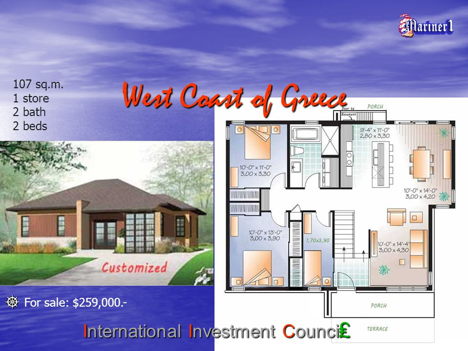 West Coast of Greece International Investment Counci 107 sq.m. 1 store 2 bath 2 beds For sale: $259,000.-