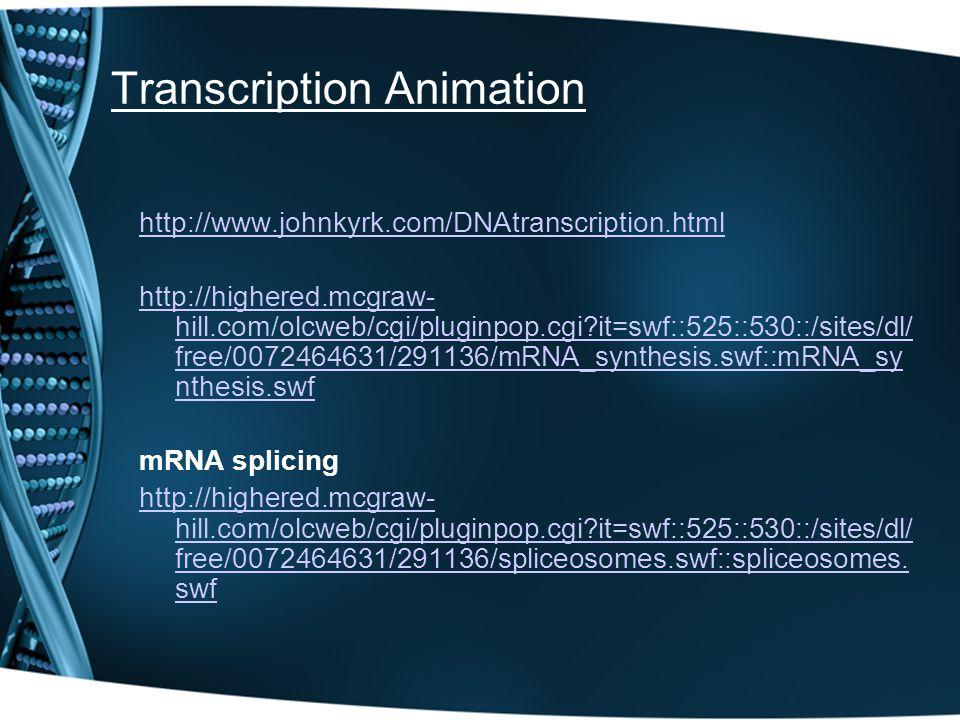 Transcription Animation http://www.johnkyrk.com/DNAtranscription.html http://highered.mcgraw- hill.com/olcweb/cgi/pluginpop.cgi?it=swf::525::530::/sit