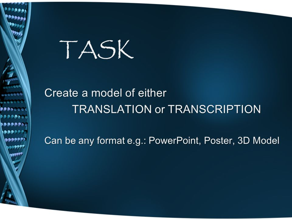 TASK Create a model of either TRANSLATION or TRANSCRIPTION Can be any format e.g.: PowerPoint, Poster, 3D Model
