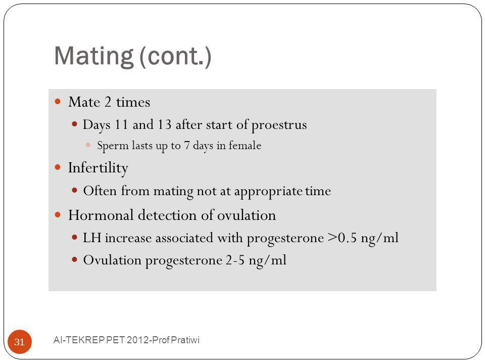 Mating (cont.) Mate 2 times Days 11 and 13 after start of proestrus Sperm lasts up to 7 days in female Infertility Often from mating not at appropriat