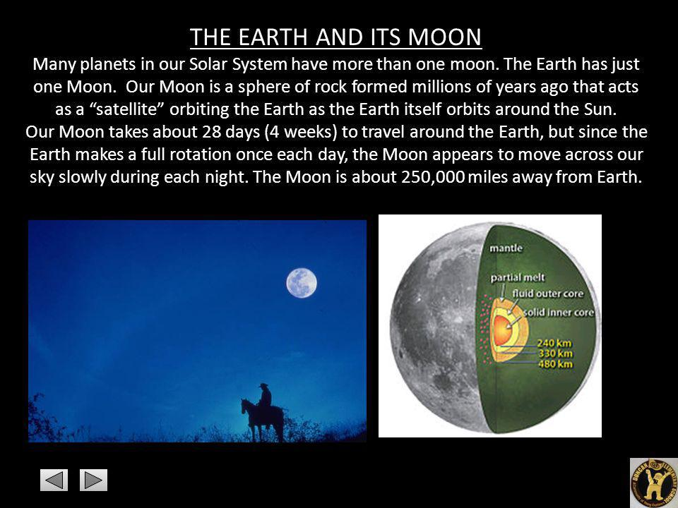 THE EARTH AND ITS MOON Many planets in our Solar System have more than one moon. The Earth has just one Moon. Our Moon is a sphere of rock formed mill