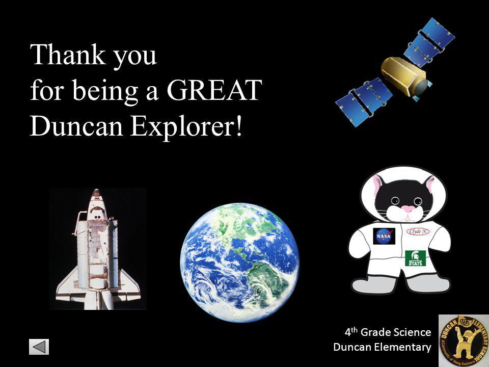 Thank you for being a GREAT Duncan Explorer! 4 th Grade Science Duncan Elementary