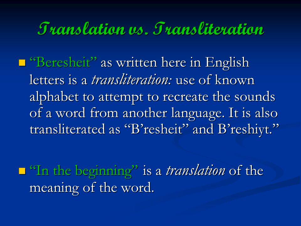 Translation vs.