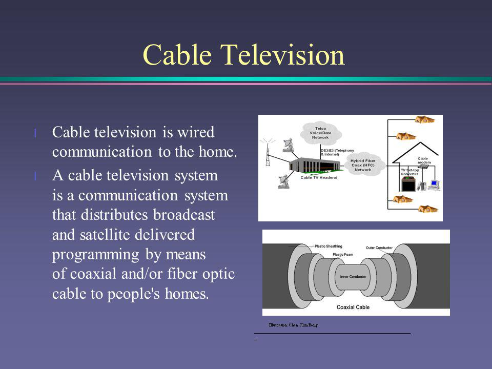 Principle of Cable Networking l HBO utilized microwave and later satellite communications for the transmission of programming, rather than distribution by videotape.