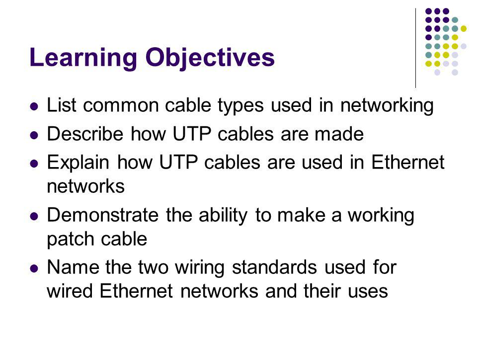 Learning Objectives List common cable types used in networking Describe how UTP cables are made Explain how UTP cables are used in Ethernet networks D
