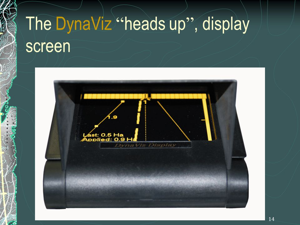 13 How DynaNav contributes towards CRM Lets review the DynaFlight – AirAg II The entire system consists of three components namely; The DynaViz heads up, display screen The ErgoGrip control grip The DynaByte processor unit Total weight of the system including wiring and antennas, etc.