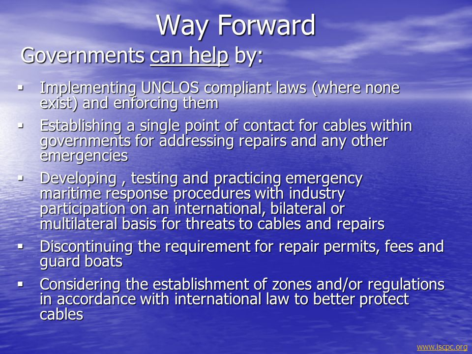 www.iscpc.org Sharing the seabed in harmony