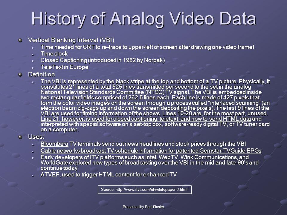 Presented by Paul Finster History of Analog Video Data Vertical Blanking Interval (VBI) Time needed for CRT to re-trace to upper-left of screen after