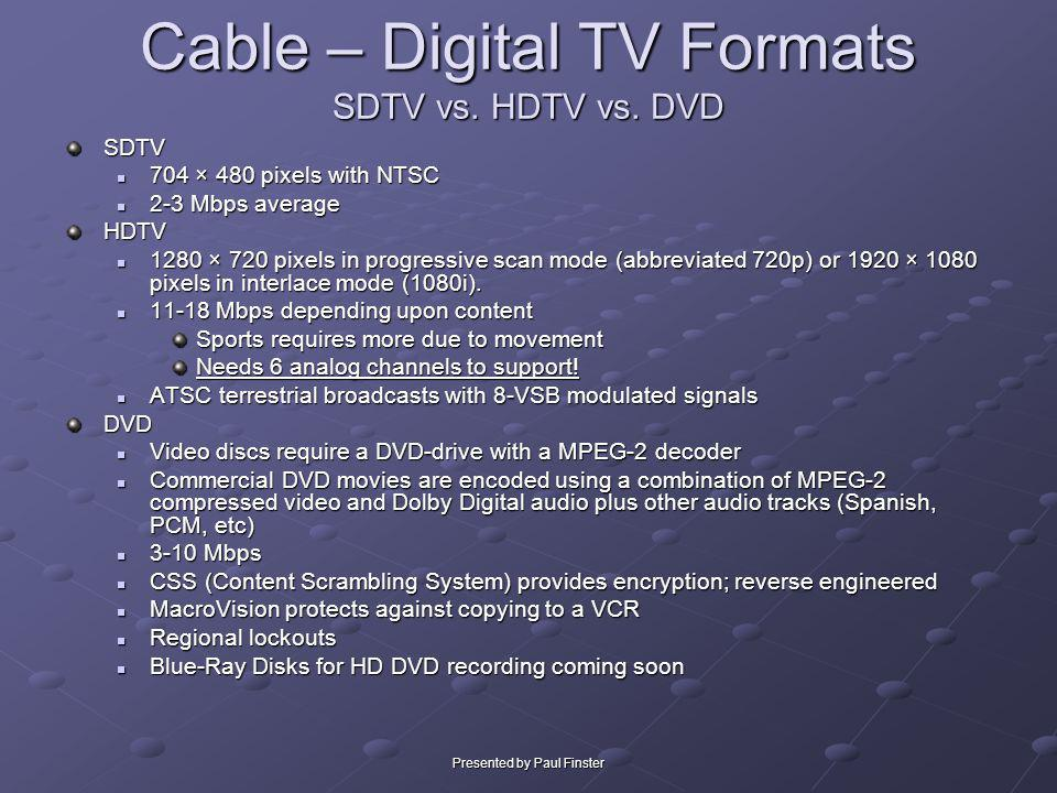 Presented by Paul Finster Cable – Digital TV Formats SDTV vs. HDTV vs. DVD SDTV 704 × 480 pixels with NTSC 704 × 480 pixels with NTSC 2-3 Mbps average