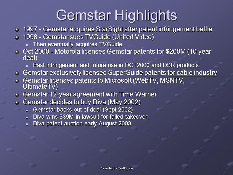 Presented by Paul Finster Gemstar Highlights 1997 - Gemstar acquires StarSight after patent infringement battle 1998 - Gemstar sues TVGuide (United Vi