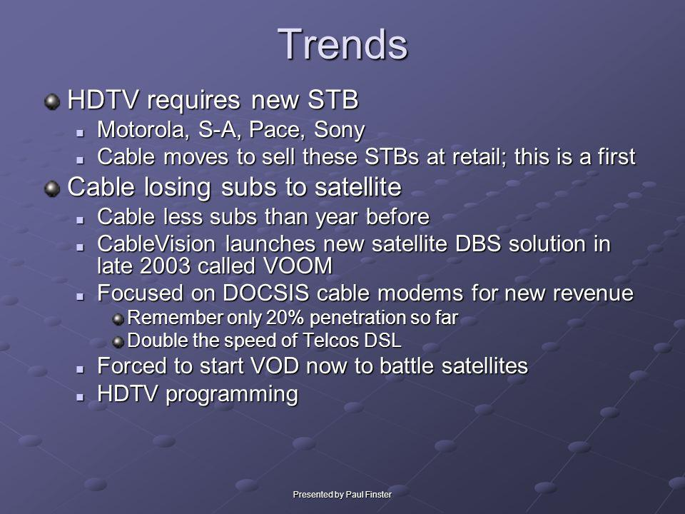 Presented by Paul FinsterTrends HDTV requires new STB Motorola, S-A, Pace, Sony Motorola, S-A, Pace, Sony Cable moves to sell these STBs at retail; th