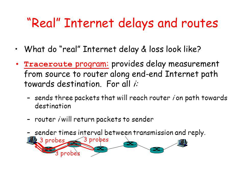 Real Internet delays and routes What do real Internet delay & loss look like.