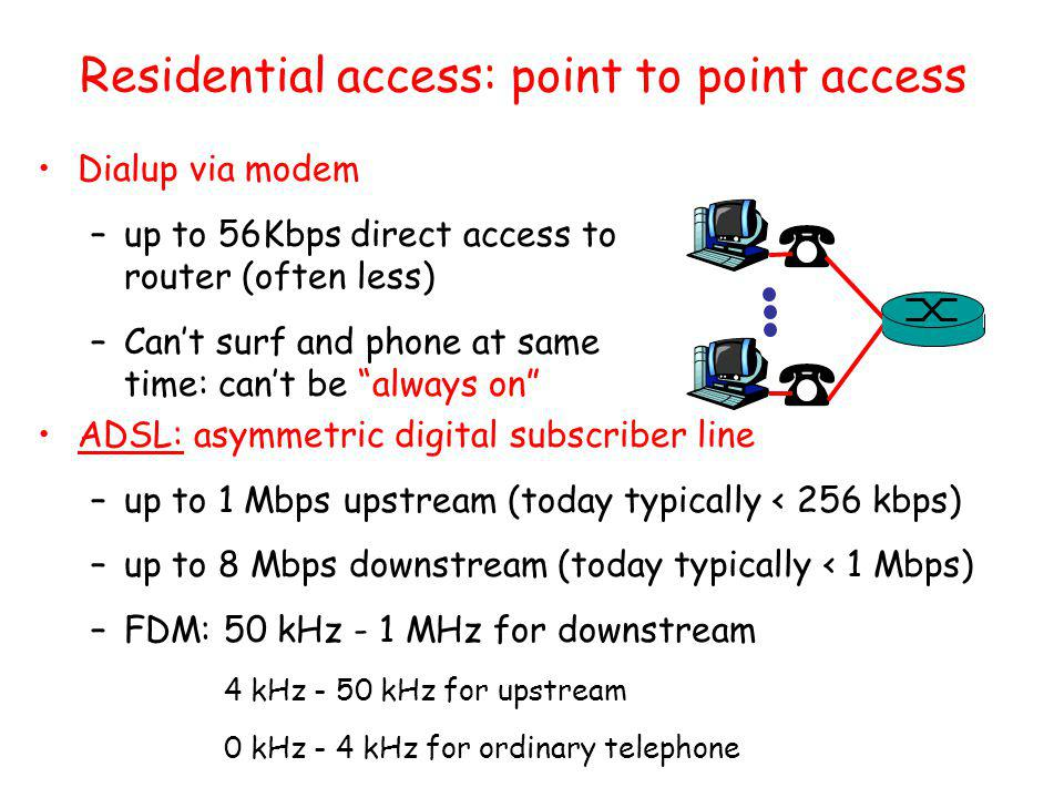 Residential access: cable modems HFC: hybrid fiber coax –asymmetric: up to 30Mbps downstream, 2 Mbps upstream network of cable and fiber attaches homes to ISP router –homes share access to router deployment: available via cable TV companies