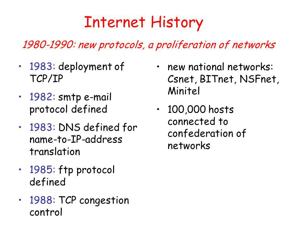Internet History 1983: deployment of TCP/IP 1982: smtp  protocol defined 1983: DNS defined for name-to-IP-address translation 1985: ftp protocol defined 1988: TCP congestion control new national networks: Csnet, BITnet, NSFnet, Minitel 100,000 hosts connected to confederation of networks : new protocols, a proliferation of networks