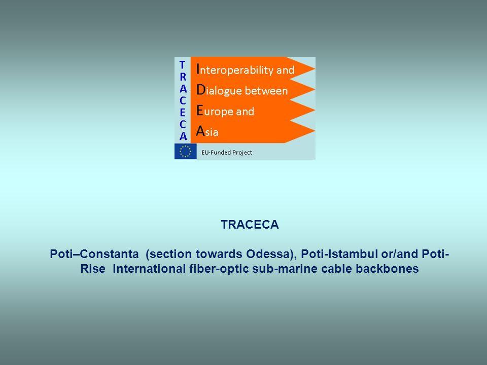TRACECA Poti–Constanta (section towards Odessa), Poti-Istambul or/and Poti- Rise International fiber-optic sub-marine cable backbones