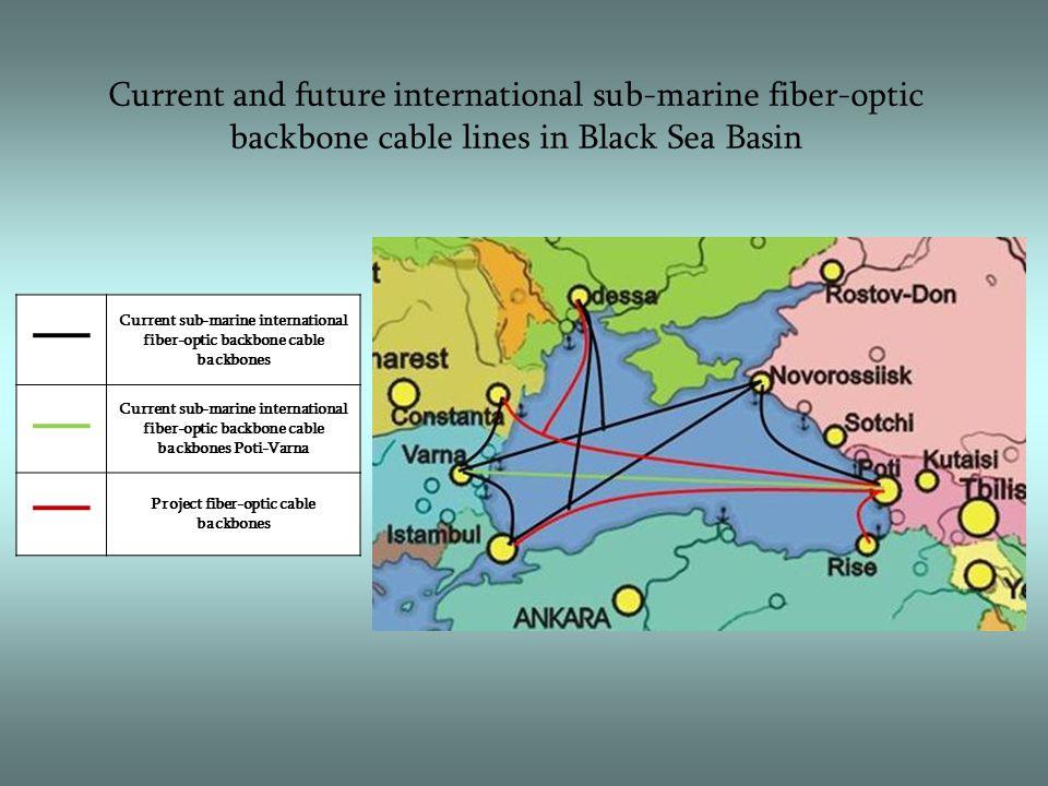 Current and future international sub-marine fiber-optic backbone cable lines in Black Sea Basin Current sub-marine international fiber-optic backbone