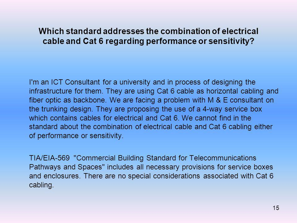 15 Which standard addresses the combination of electrical cable and Cat 6 regarding performance or sensitivity.
