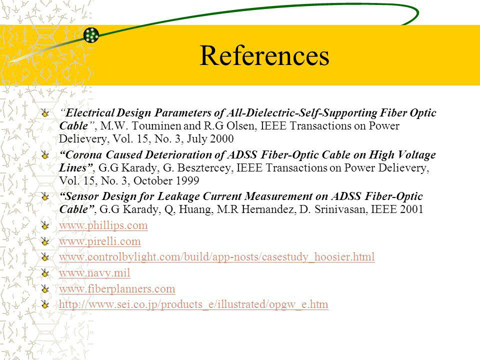 References Electrical Design Parameters of All-Dielectric-Self-Supporting Fiber Optic Cable, M.W. Touminen and R.G Olsen, IEEE Transactions on Power D