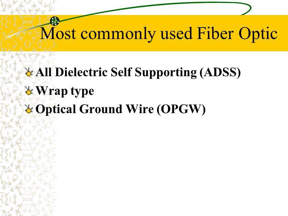 Most commonly used Fiber Optic All Dielectric Self Supporting (ADSS) Wrap type Optical Ground Wire (OPGW)