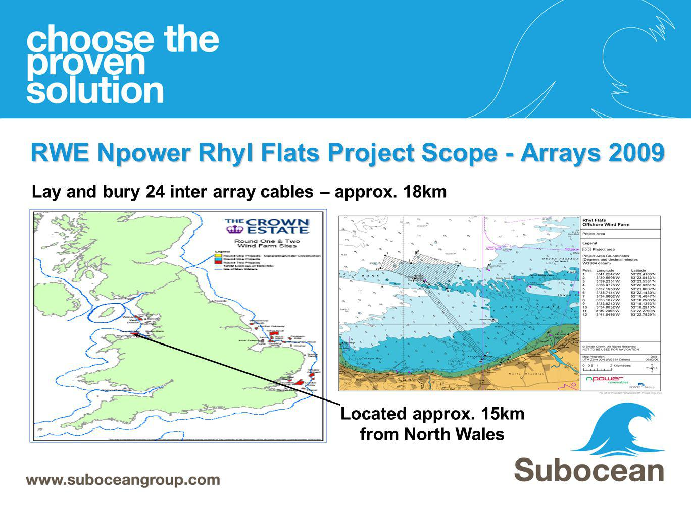 RWE Npower Rhyl Flats Project Scope - Arrays 2009 Located approx. 15km from North Wales Lay and bury 24 inter array cables – approx. 18km