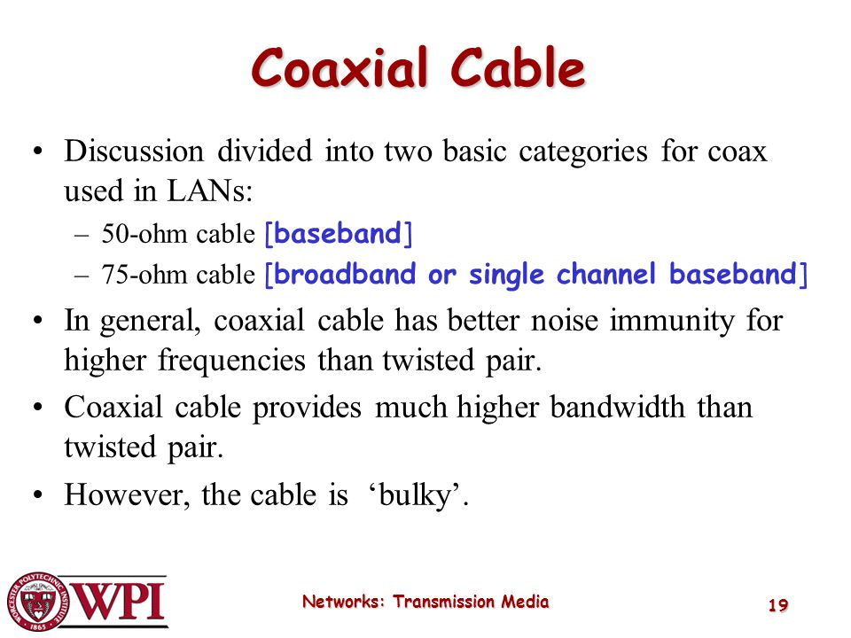Networks: Transmission Media 19 Coaxial Cable Discussion divided into two basic categories for coax used in LANs: –50-ohm cable [baseband] –75-ohm cab