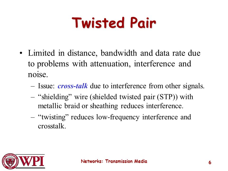Networks: Transmission Media 6 Twisted Pair Limited in distance, bandwidth and data rate due to problems with attenuation, interference and noise. –Is