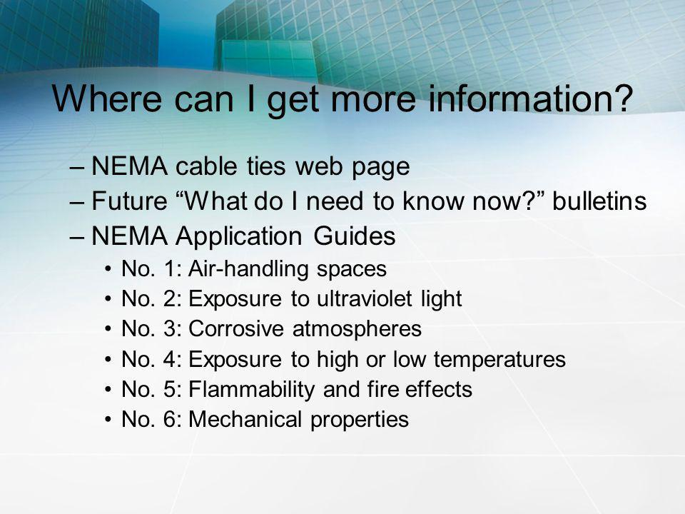 Where can I get more information? –NEMA cable ties web page –Future What do I need to know now? bulletins –NEMA Application Guides No. 1: Air-handling
