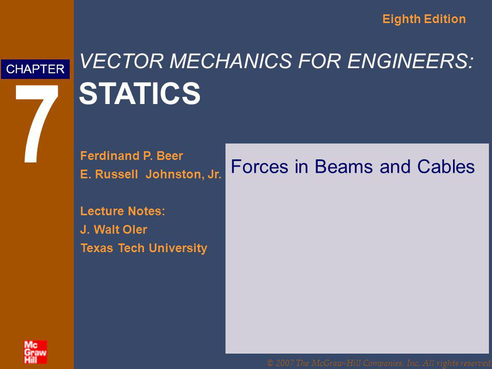 VECTOR MECHANICS FOR ENGINEERS: STATICS Eighth Edition Ferdinand P. Beer E. Russell Johnston, Jr. Lecture Notes: J. Walt Oler Texas Tech University CH