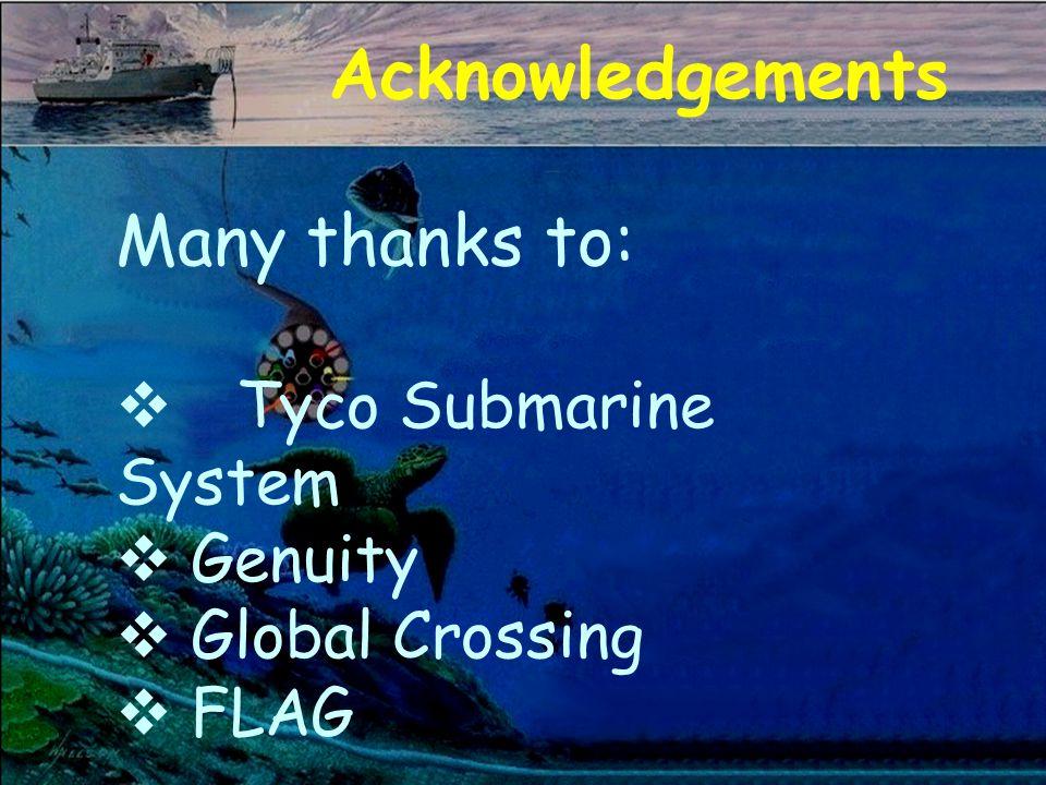 Acknowledgements Many thanks to: v Tyco Submarine System v Genuity v Global Crossing FLAG