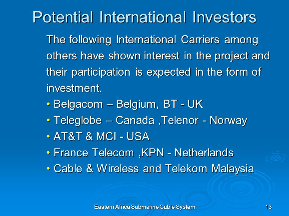 Eastern Africa Submarine Cable System13 Potential International Investors The following International Carriers among others have shown interest in the project and their participation is expected in the form of investment.