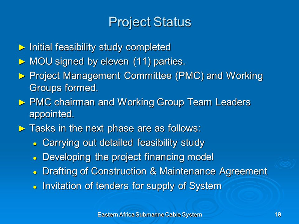 Eastern Africa Submarine Cable System19 Project Status Initial feasibility study completed Initial feasibility study completed MOU signed by eleven (11) parties.