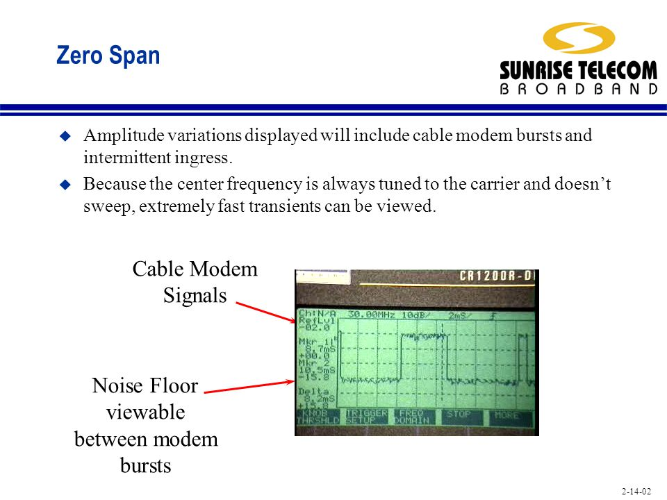 2-14-02 Zero Span u Amplitude variations displayed will include cable modem bursts and intermittent ingress. u Because the center frequency is always