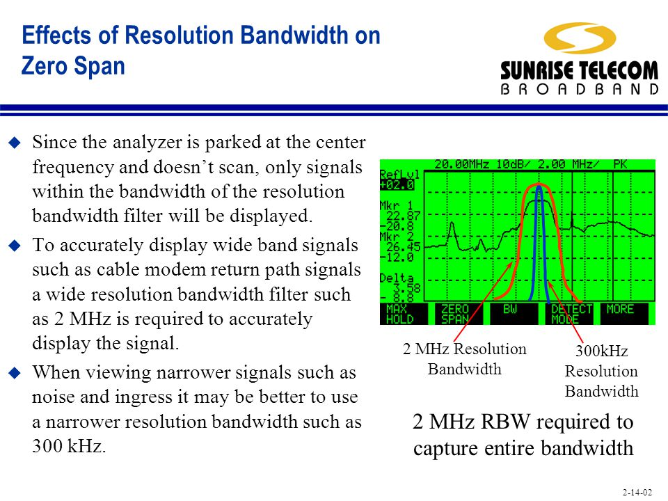 2-14-02 Effects of Resolution Bandwidth on Zero Span u Since the analyzer is parked at the center frequency and doesnt scan, only signals within the b