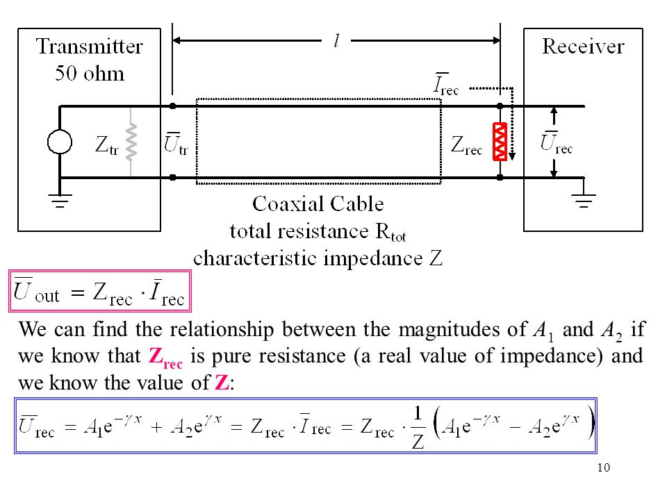 10 We can find the relationship between the magnitudes of A 1 and A 2 if we know that Z rec is pure resistance (a real value of impedance) and we know the value of Z: